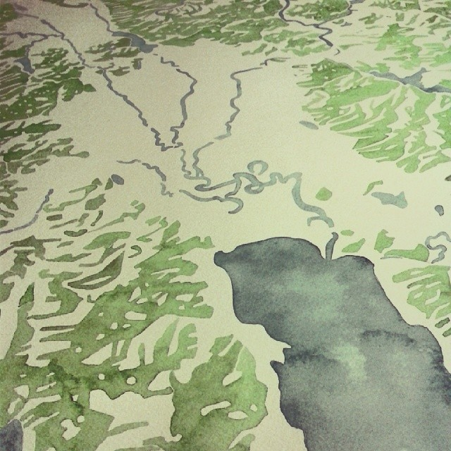 Rivers #watercolor #map #Montana #glacierpark #summitridge