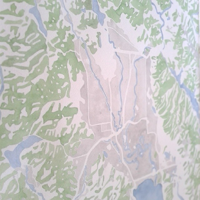 More detail #Kalispell #Montana #watercolor #map #painting