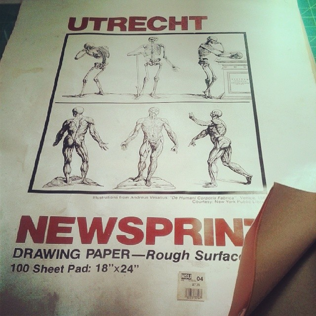 MSU bookstore 1994 Still making my way through 100 sheets #almostthere #utrecht #newsprint #sketch