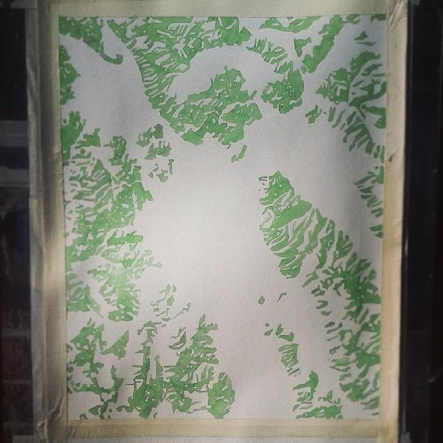 Mountains #Montana #watercolor #map #travel #hike #glacierpark #summitridge