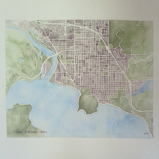 Coeur d'Alene Idaho #watercolor #map #summitridge