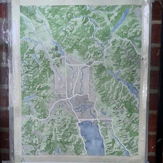Kalispell Montana #glacierpark #watercolor #map #painting #summitridge