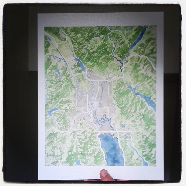 Beautiful prints #glacierpark #Kalispell #Montana #watercolor #map