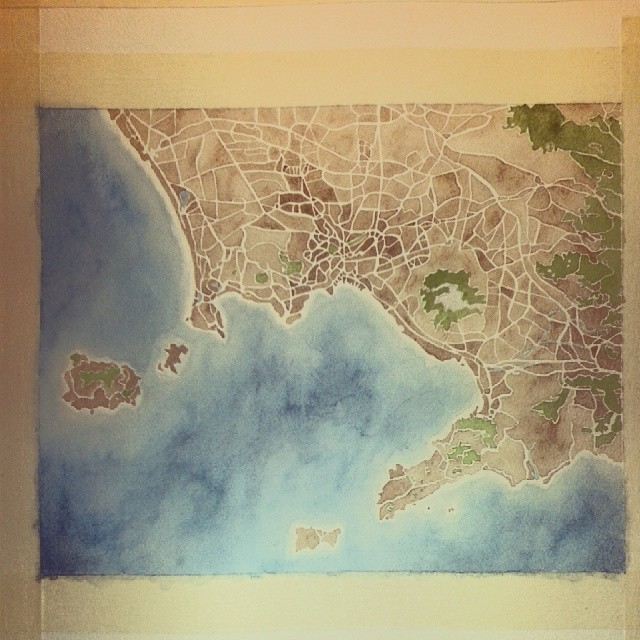 Naples Italy #watercolor #map #summitridge #painting #art #italy