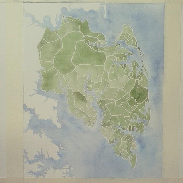 Mathews Va #Virginia #watercolor #map