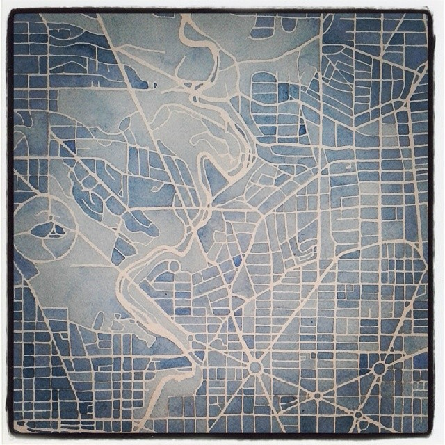 DC Blueprint #watercolor #art #map #design #Washington #dc #neighborhood