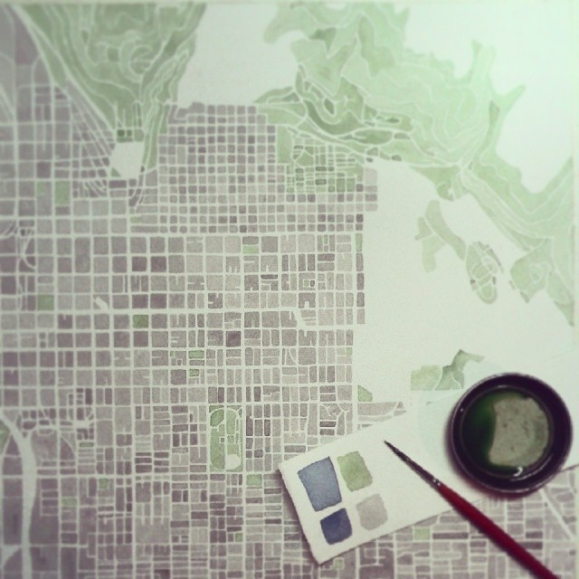 SLC #Utah #green #park #mountains #summitridge #watercolor #map #slc