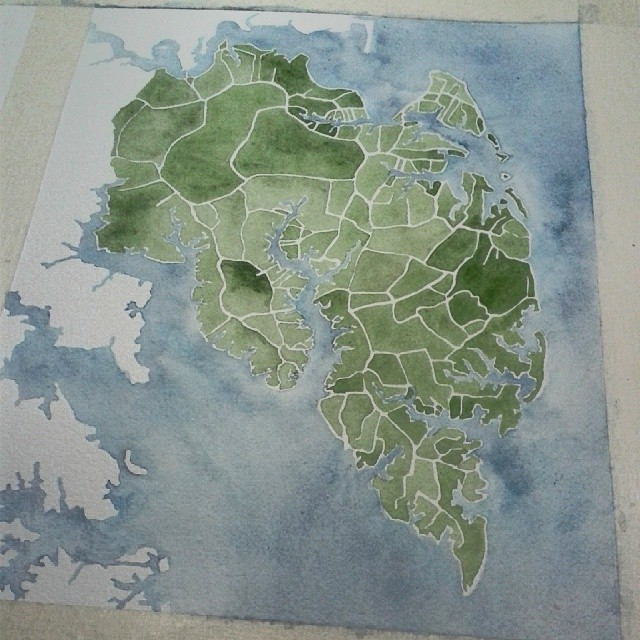 Darkening some of the green areas #Virginia #watercolor #map #art #painting #summitridge