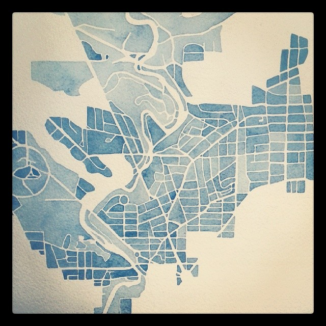 DC Blueprint #watercolor #indigo #blueprint #newyear #instaart #summitridge