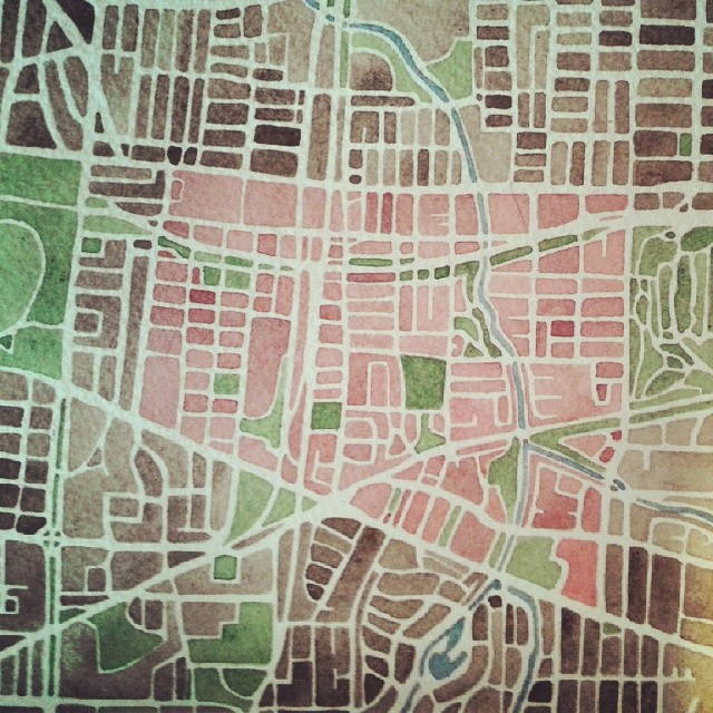 Binghampton #Memphis #watercolor #neighborhood #map #summitridge