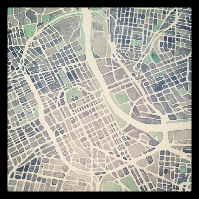 Nashville #watercolor #map progress needs indigo #summitridge
