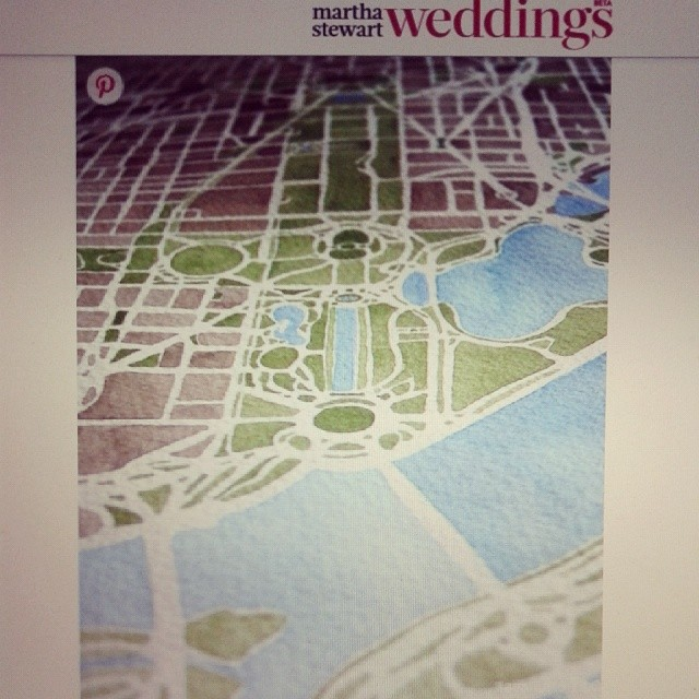 Martha Stewart Weddings #martha #weddings #custom #watercolor #map #summitridge
