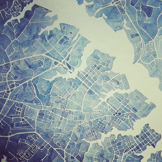 Annapolis #watercolor #indigo #map #Maryland #etsy #custom #summitridge