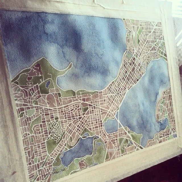 Madison Wisconsin #watercolor #map #instaart #madison #city #summitridge