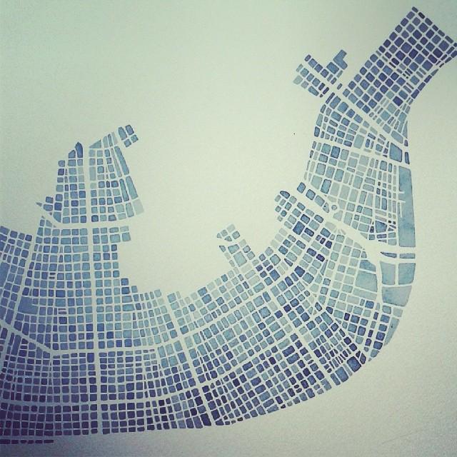 Nola #watercolor #indigo #blueprint #neworleans #art #summitridge