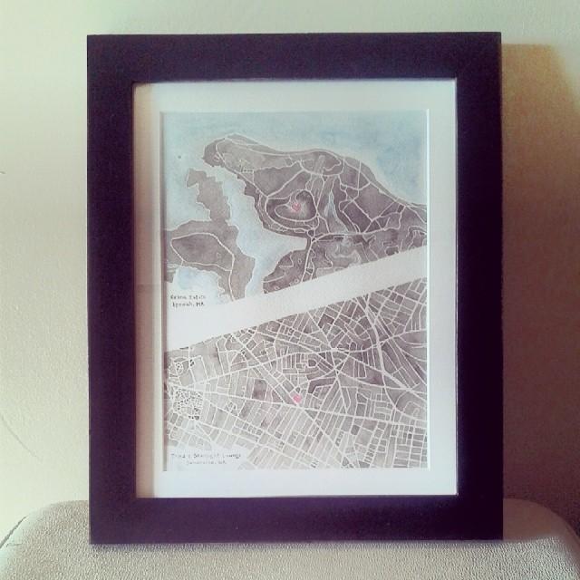 Somerville and Ipswich #watercolor #wedding #engagement #map #summitridge