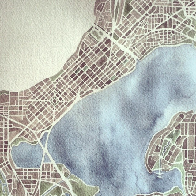 Madison #Wisconsin #watercolor #map