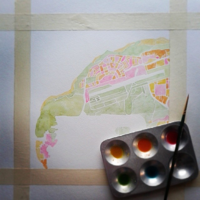 Happy colors keep me warm #Denver #puertorico #aguadilla #watercolor #map #artist #summitridge