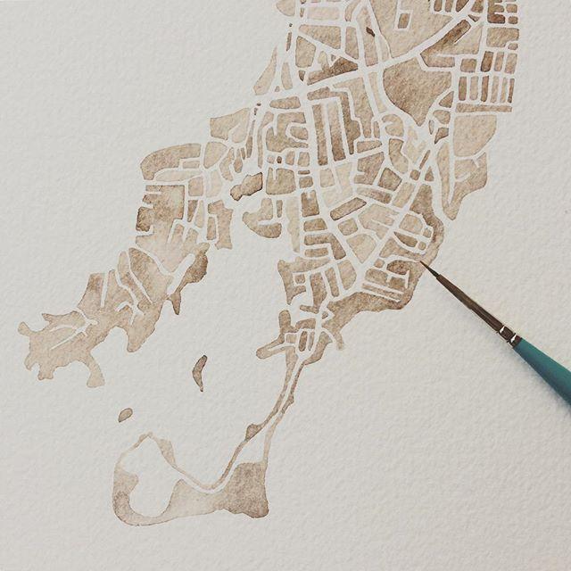 Old Greenwich Connecticut #sepia #watercolor #map #summitridgestudio #commission