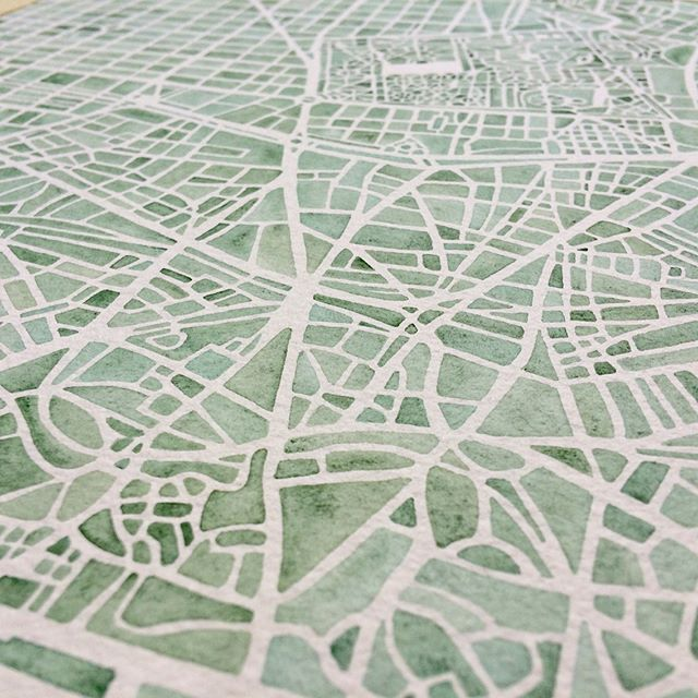 Madrid close ups swipe right #watercolor #map #madrid #spain #color #blue #green #seaglass #handpainted