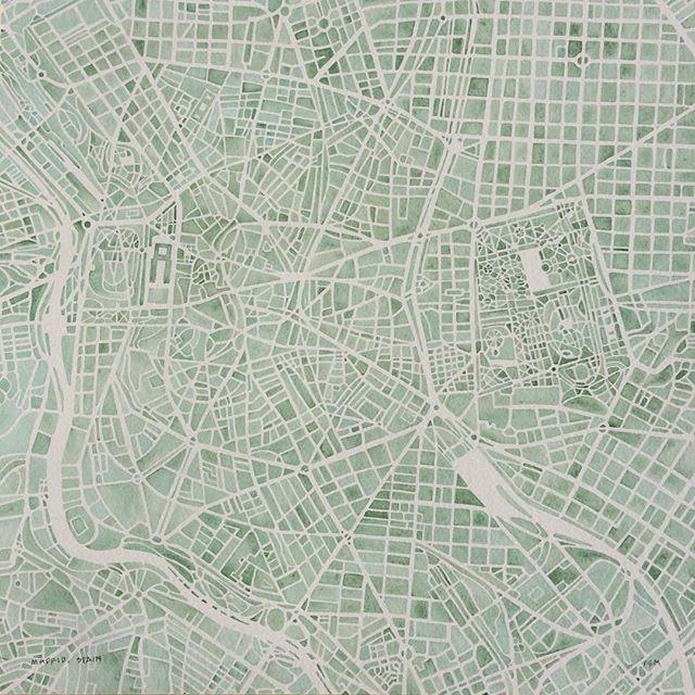 Madrid watercolor city map #Spain #Etsy #summitridgestudio #summitridge #commission #art #watercolorpainting #urban #map