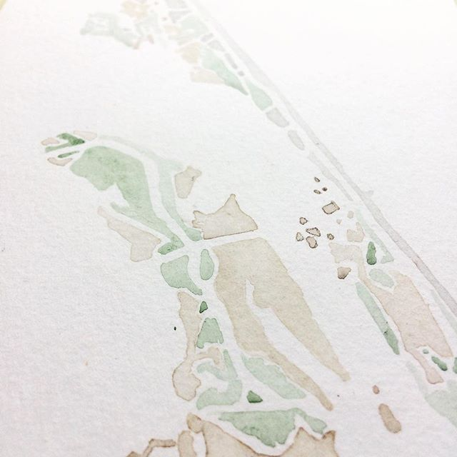 Sand bars and marshes #northcarolina #OBX #watercolor #summitridgestudio #map