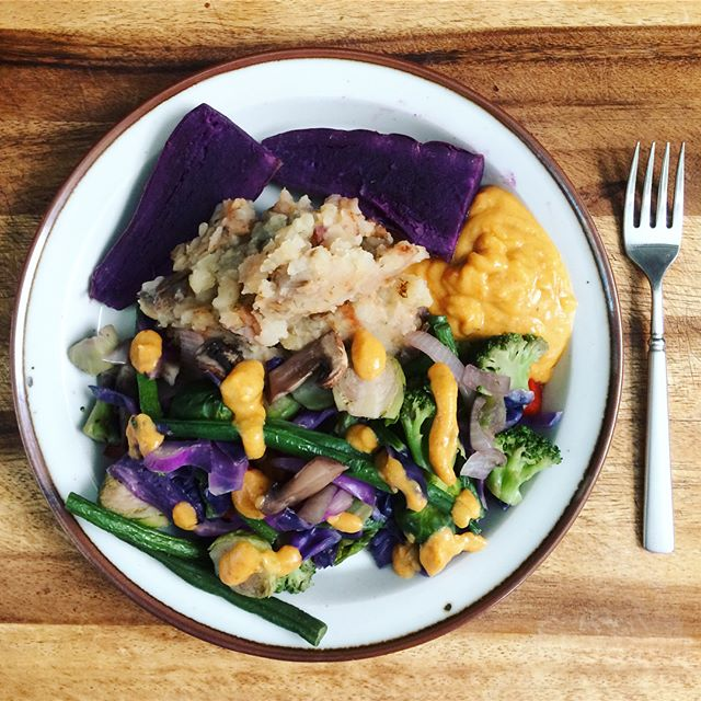 Todays potato meals purple sweet potatoes  are amazing #wslf #potato #vegan #potatoreset #mustard