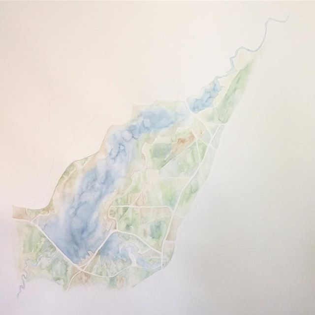Adding more surrounding land #reservoir #mississippi #summitridgestudio #watercolor