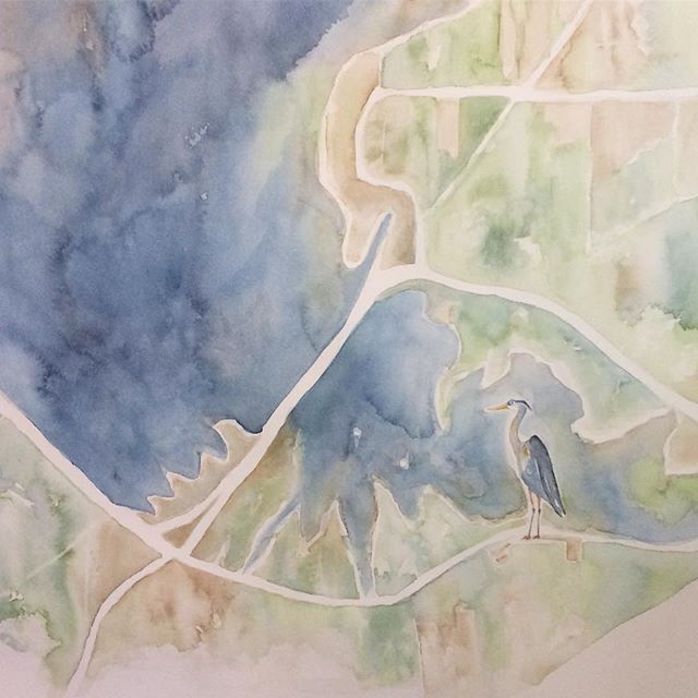 Great Blue Heron detail #customwatercolormap #mississippi #reservoir #indigo #watercolor #painting